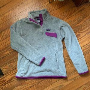 Patagonia Grey & Purple Fleece Pullover
